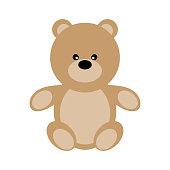 Vector Valentine's Day Teddy Bear. Toy plush bear cute for babies and children. Happy small bear cartoonish.