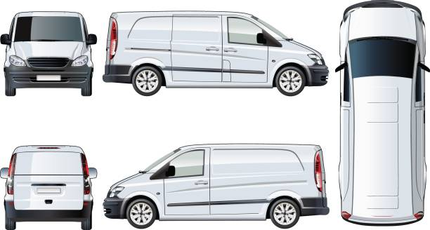 vektor van vorlage isoliert auf weiss - vans stock-grafiken, -clipart, -cartoons und -symbole