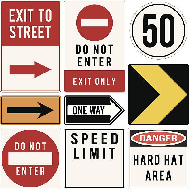 ilustraciones, imágenes clip art, dibujos animados e iconos de stock de vector varias road y los signos de advertencia - señalización vial