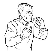 Vector illustration of sick middle aged man coughing