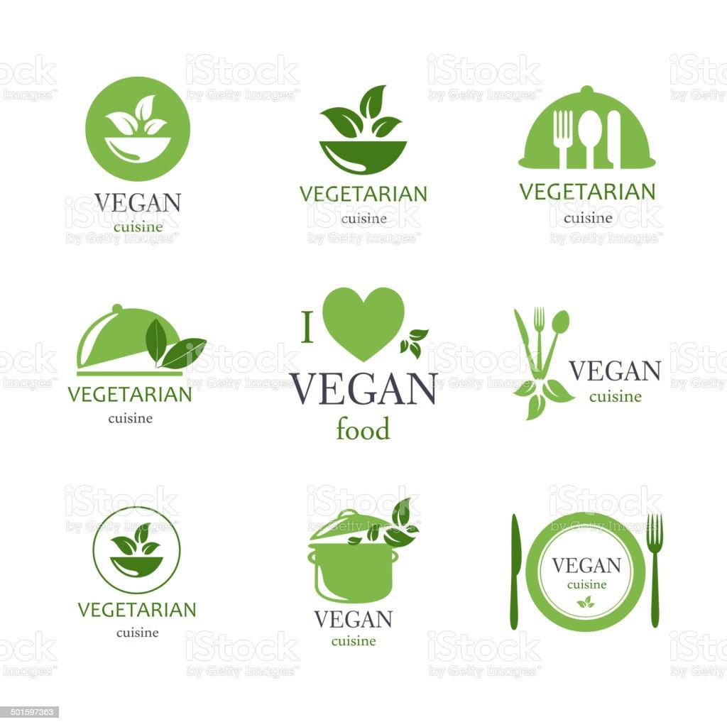 Vetor Emblems pratos veganos e vegetarianos - ilustração de arte em vetor