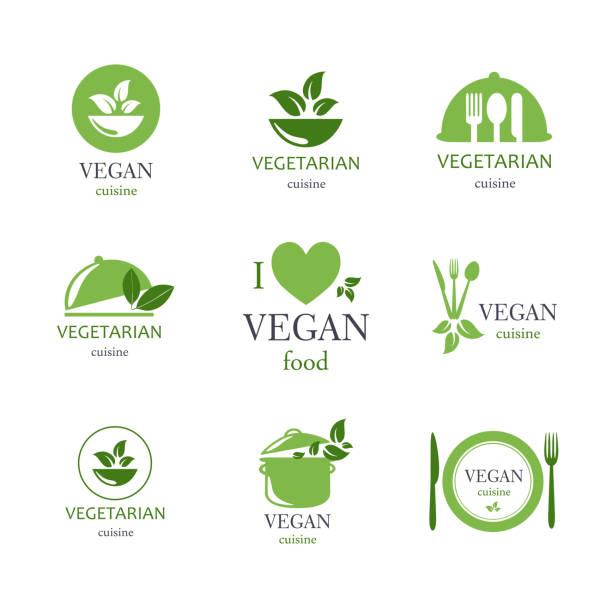 illustrations, cliparts, dessins animés et icônes de vecteur des plats végétariens et végétaliens symboles - plat végétarien