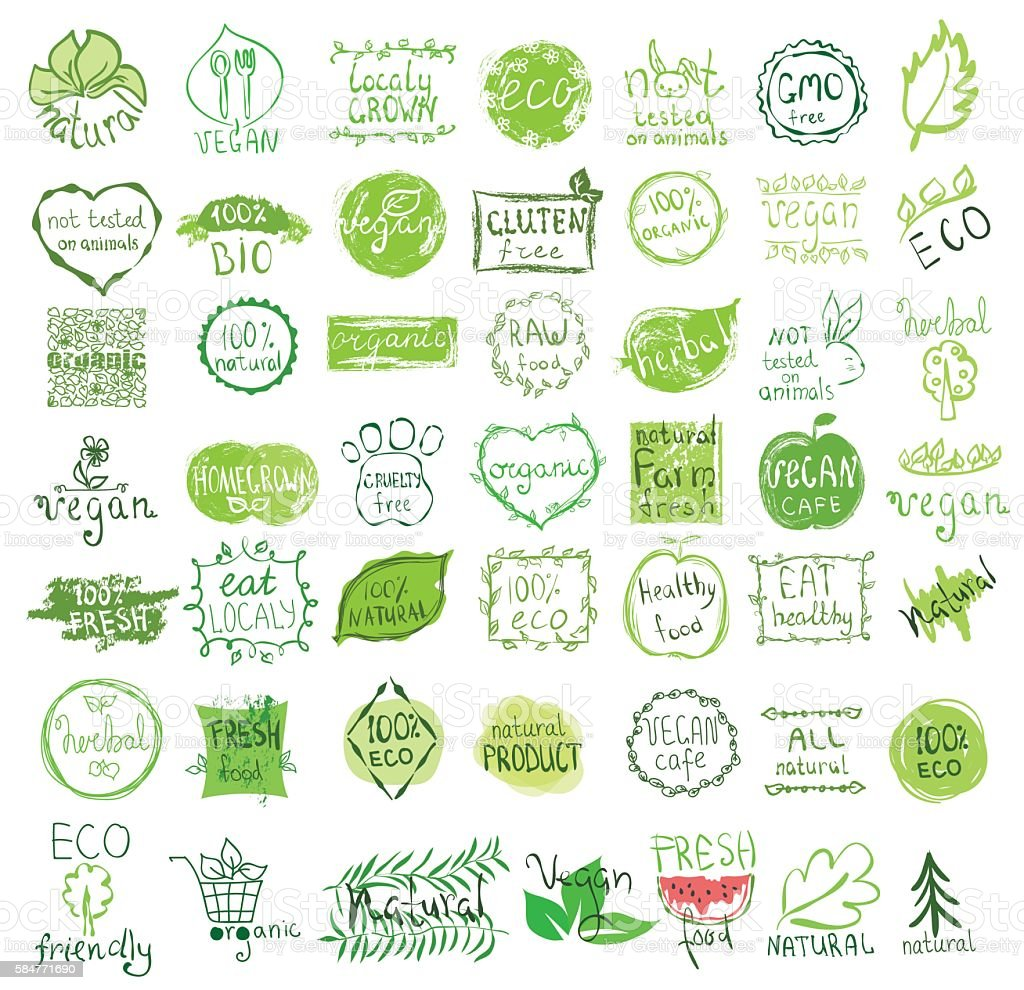 Vector vegan, natural and eco icons. vector art illustration