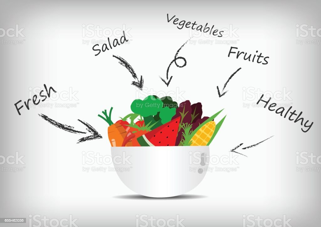 Vector : Vegetable and fruit in salad bowl and salad sauce Vector : Vegetable and fruit in salad bowl and salad sauce Apple - Fruit stock vector