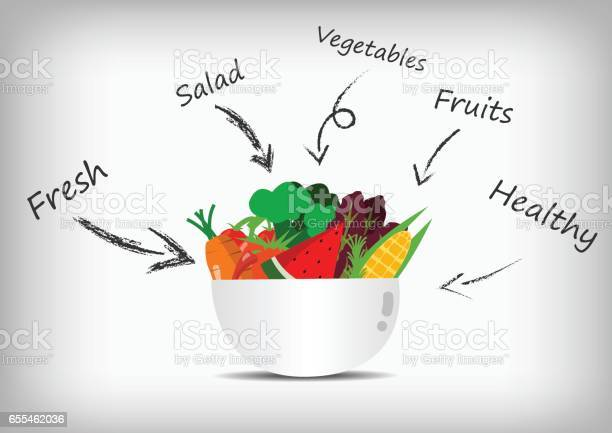 Vector Vegetable And Fruit In Salad Bowl And Salad Sauce Stock Illustration - Download Image Now