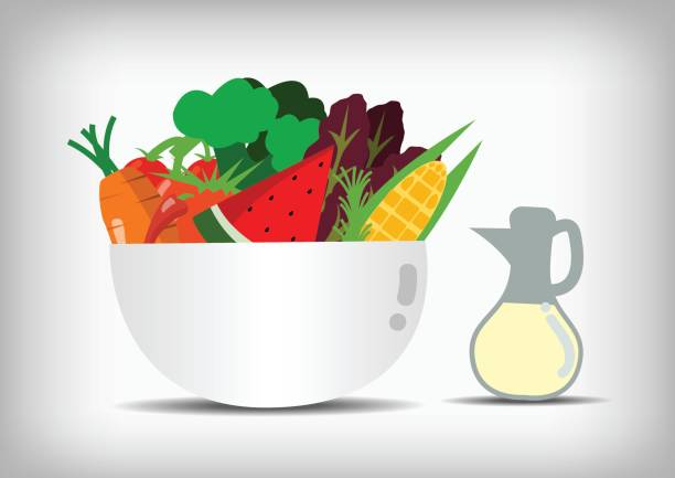 Vector : Vegetable and fruit in salad bowl and salad sauce vector art illustration