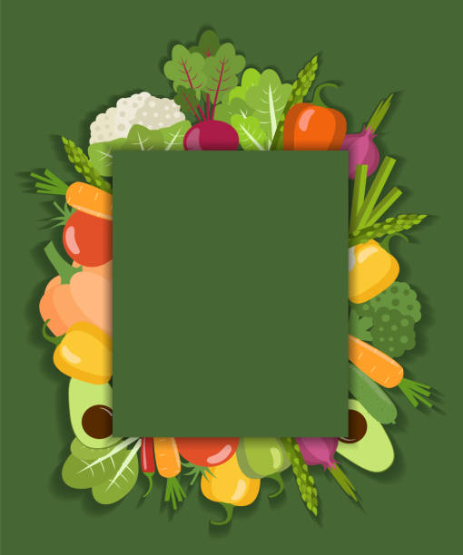 Vector vegetable background. Flat design cooking borders stock illustrations