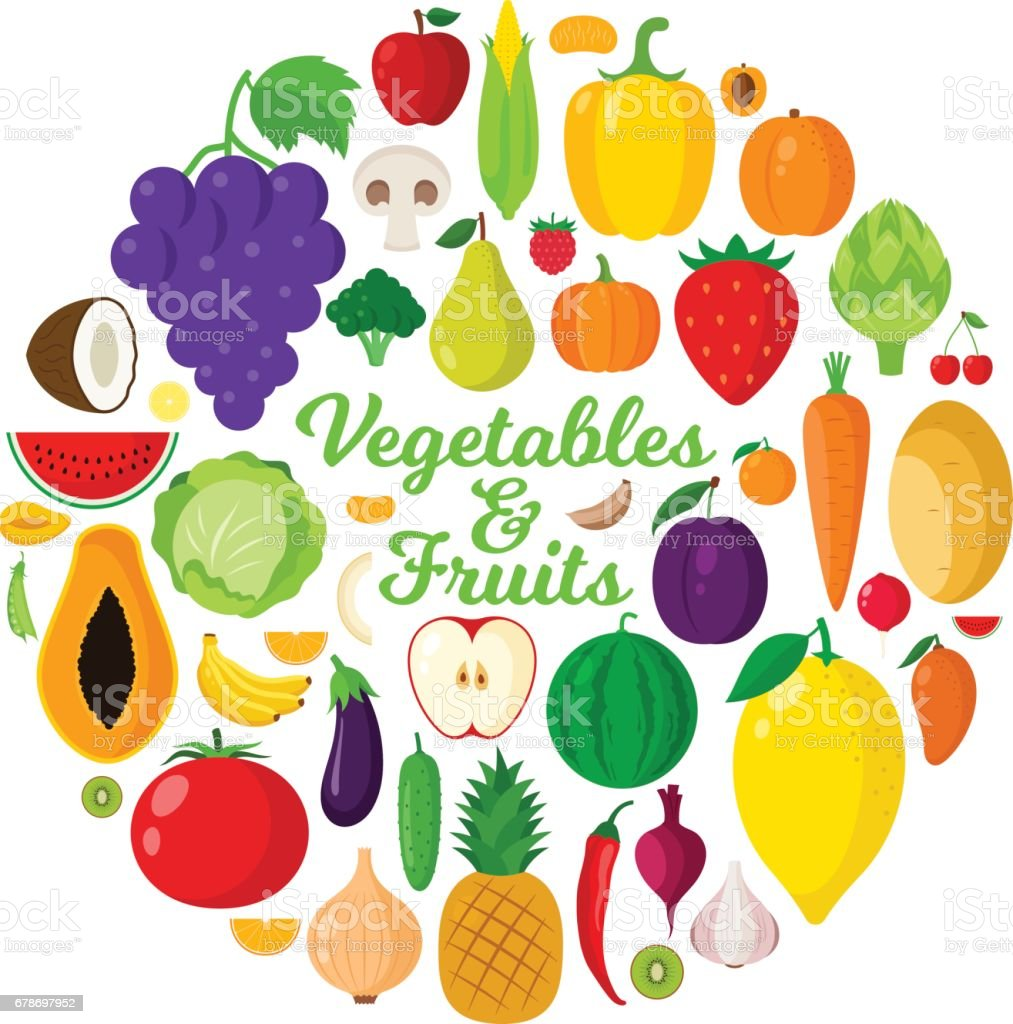 vector vegetables and fruits illustration stock vector art