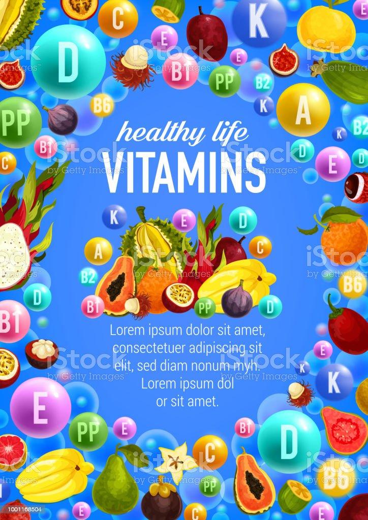 Vector vegetables and fruits vitamins vector art illustration