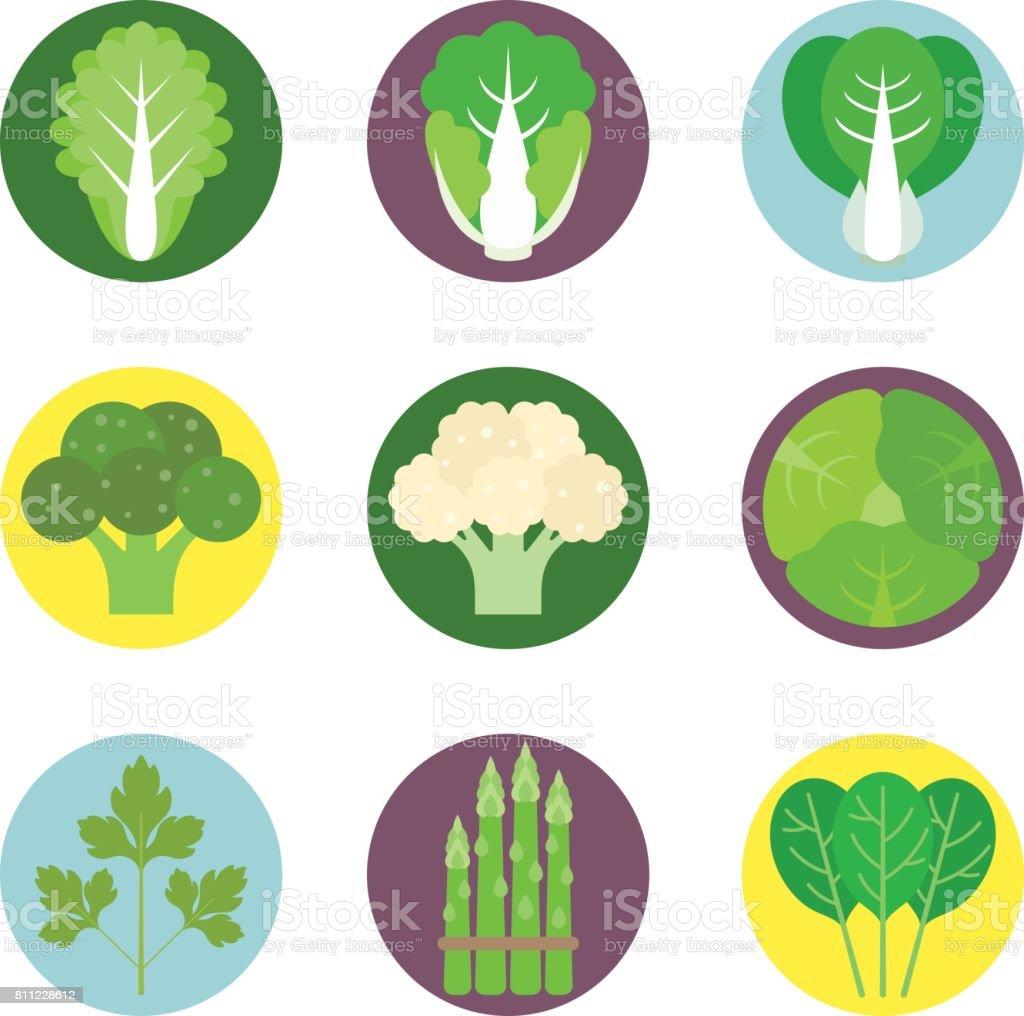 Vector conjunto de ícones plana de legumes 1 - ilustração de arte em vetor