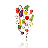 Vector vegetables icons set in cartoon style on a white background. Collection farm product for restaurant menu, market label.