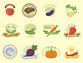 Vector vegetables label template icon