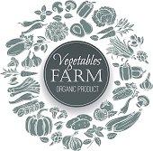 Vector vegetables round banner. Vegetables monochrome decorative icons.
