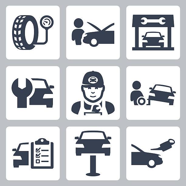Vector vehicle service station icons set vector art illustration