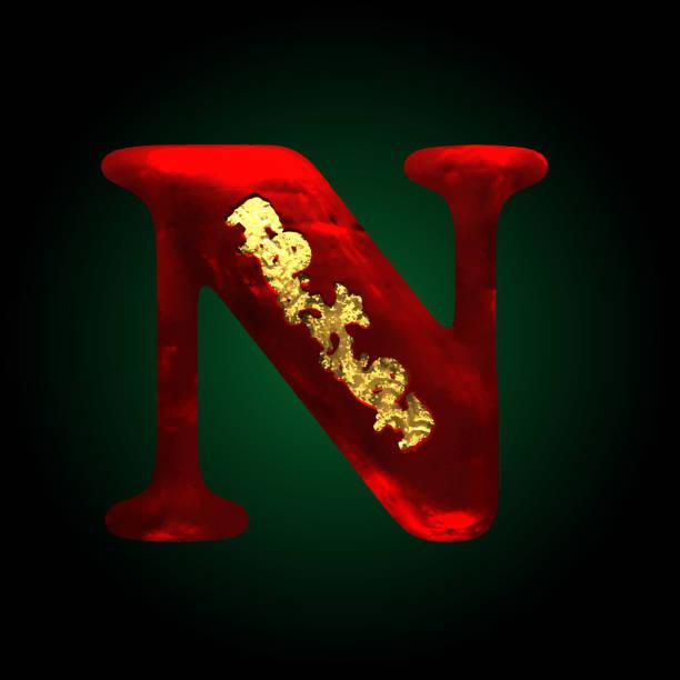 alphabet n design letter on gold metal texture clip art vector images illustrations