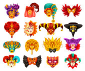 Venetian carnival masks, traditional Venice masquerade festival. Vector masks of animal or bird and mystery human face with veil, feathers or harlequin pattern ornament. Theater or Mardi Gras theme