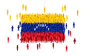 Vector Venezuela state flag formed by crowd of cartoon people