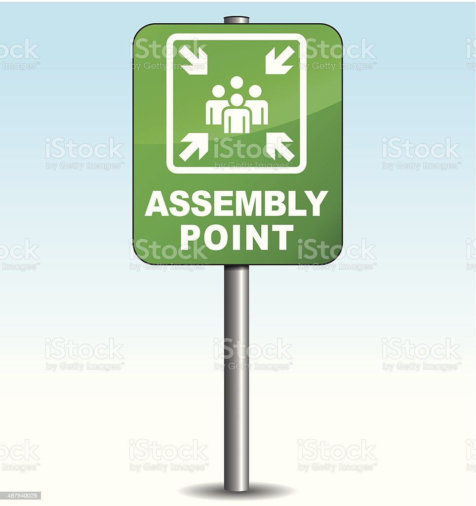 Vector vertical assembly point sign vector art illustration