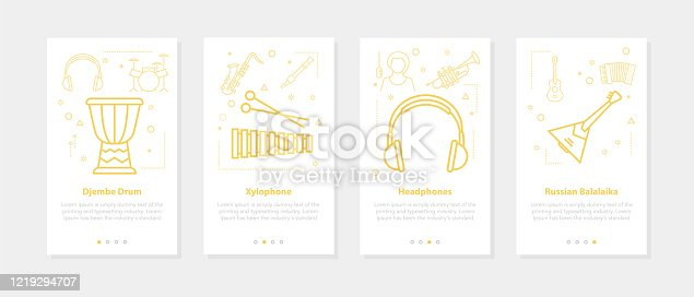 Vector web mobile banners for music education, musical instrument training and online courses. Set of onboarding app screens, slide template with line icons of balalaika, djembe, headphone, xylophone