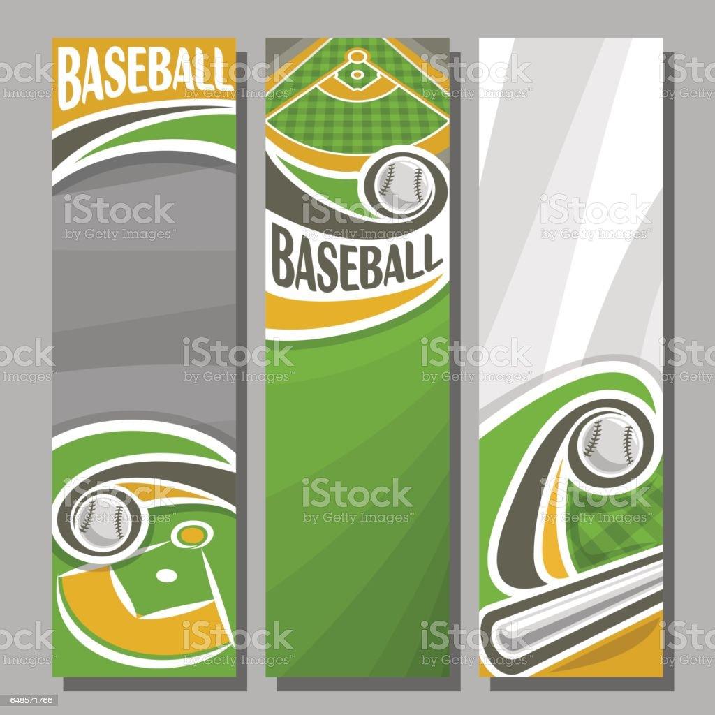 Vector Vertical Banners for Baseball vector art illustration