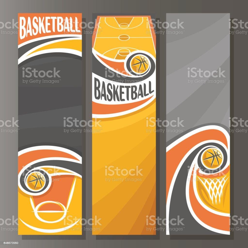 Vector Banners verticales para el baloncesto - ilustración de arte vectorial