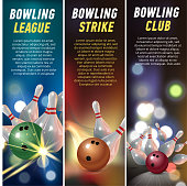 Vector Vertical Banners for Bowling Vector illustration