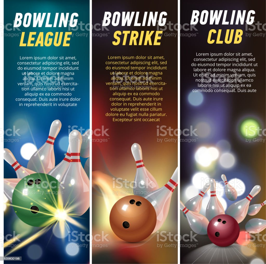 Vector Vertical Banners for Bowling vector art illustration