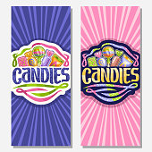 Vector vertical banners for Candies, on sign 5 wrapped sweets in colorful plastic package up, original brush typeface for word candies and swirls down, on blue and pink background of rays of light.