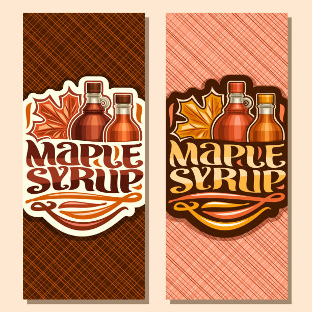 Vector vertical banners for Maple Syrup Vector vertical banners for Maple Syrup, leaflet with 2 plastic and glass bottles with sweet syrup and maple leaf, original brush lettering for words maple syrup, canadian vegan dessert for breakfast maple syrup stock illustrations