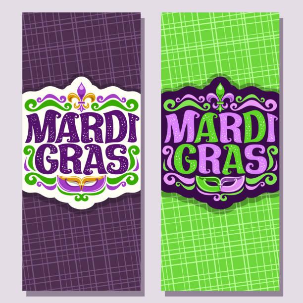 ilustrações, clipart, desenhos animados e ícones de banners verticais de vetor para o mardi gras - mardi gras