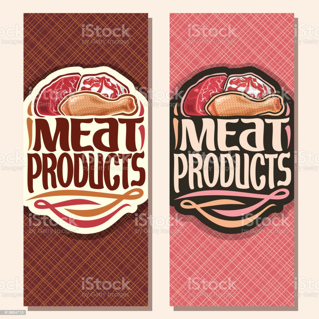 Vector vertical banners for Meat vector art illustration