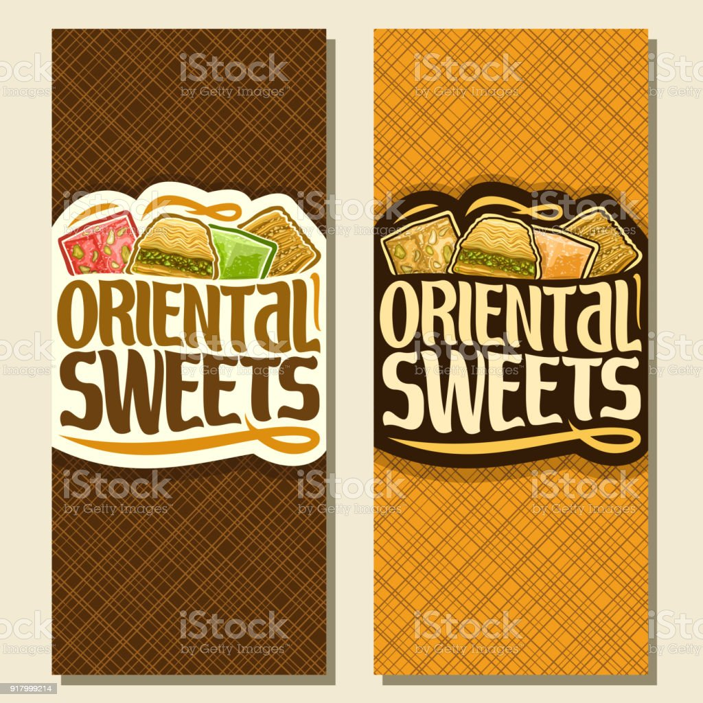 Vector vertical banners for Oriental Sweets vector art illustration
