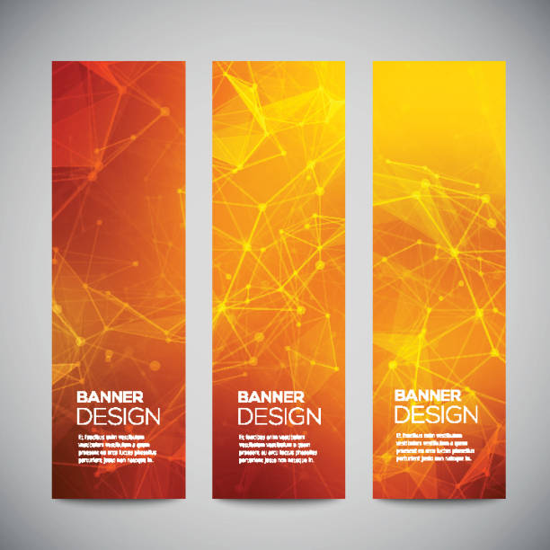 Vector vertical banners set with polygonal abstract shapes, with circles Vector vertical banners set with polygonal abstract shapes, with circles, lines, triangles. fire natural phenomenon stock illustrations