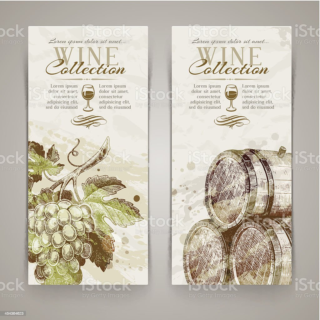 Vector vertical banners with grapes and casks vector art illustration
