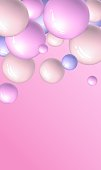 Vector vertical dynamic background with colorful 3d sphere.