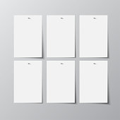 Vector rectangle format A4 white paper with shadow on grey background. Empty six sheets of paper template portrait orientation. Realistic one sheet, poster, banner, background, blank, picture frame.