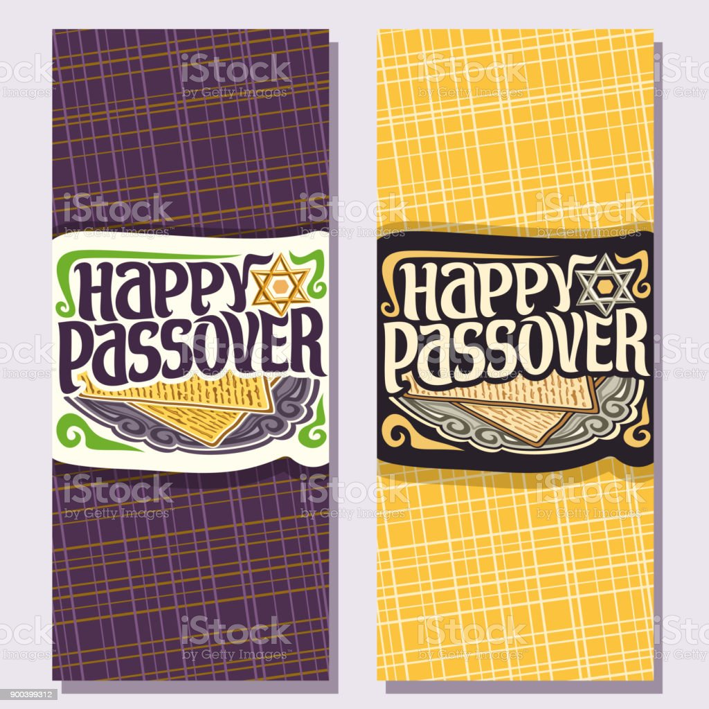 Vector Vertical Greeting Cards For Passover Holiday Stock Vector Art