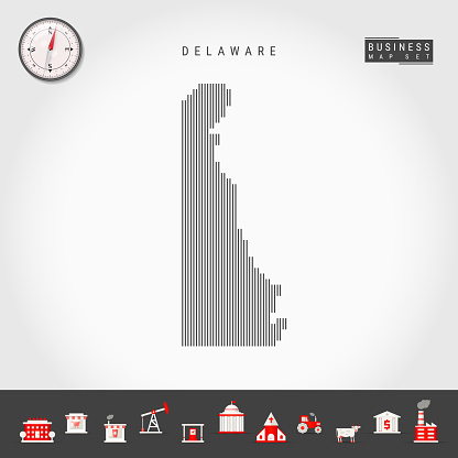 Vector Vertical Lines Pattern Map of Delaware. Striped Silhouette of Delaware. Realistic Compass. Business Icons