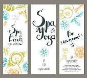Vector vertical ready design template for brochures, booklets, posters, banners for organic cosmetic shop,spa center or relax center. Sketchy engraving style, pastel natural colors.