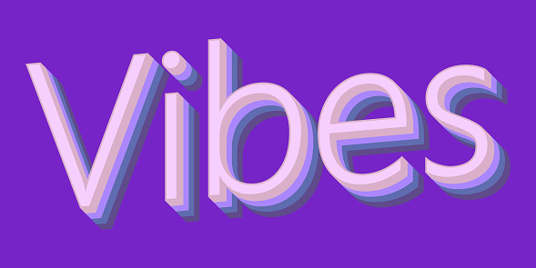 Vector vibes 3d font colorful style stock illustration