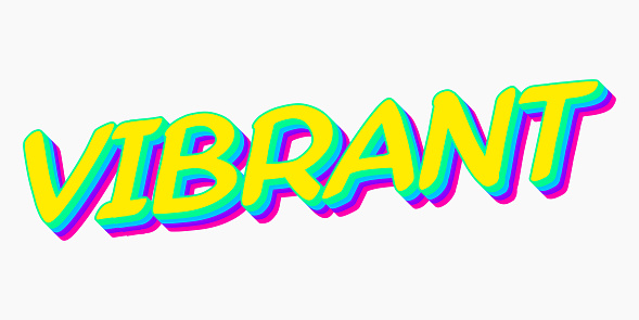 Vector vibrant 3d bold font colorful style stock illustration