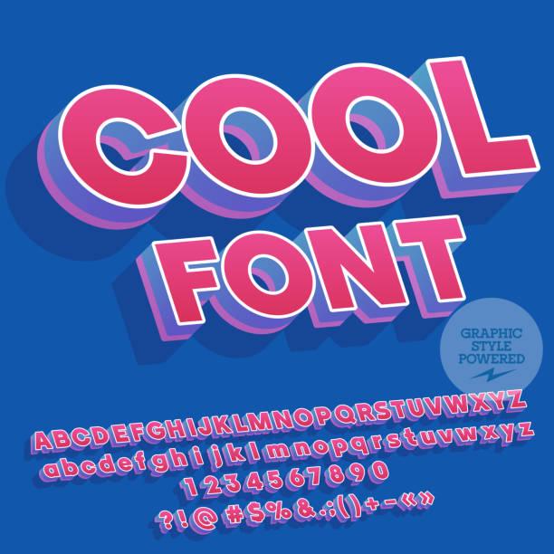 ilustraciones, imágenes clip art, dibujos animados e iconos de stock de colores vibrantes vector inclinación letras del alfabeto, números y signos de puntuación con sombra - tipos de letra y tipografía