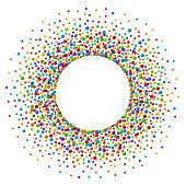 Vector vibrant color soap bubles or confetti festive frame