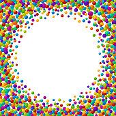 Vector vibrant color soap bubles or confetti festive text box