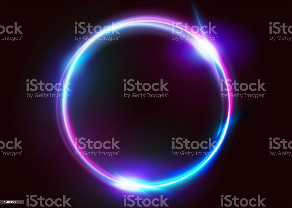 Vector Vibrant Neon Circle with Glow. Modern Round Frame with Empty Space for Text. Abstract Bright Neon Loop with Transparency. Colorful Shine, Flare. Illustration for Advertising, Banner, Card. vector art illustration