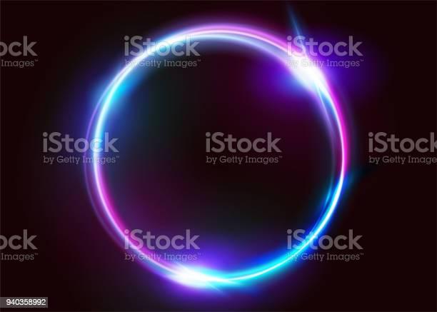 Vector Levendige Neon Cirkel Met Gloed Moderne Ronde Frame Met Lege Ruimte Voor Tekst Abstracte Felle Neon Lus Met Transparantie Kleurrijke Shine Flare Illustratie Voor Reclame Banner Kaart Stockvectorkunst en meer beelden van Abstract