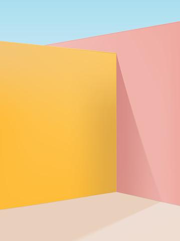 Vector Vibrant Pastel Geometric Studio Shot Corner Background, Pink, Yellow & Beige