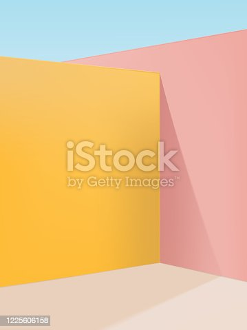 Vector Vibrant Pastel Geometric Studio Shot Corner Background, Pink, Yellow & Beige