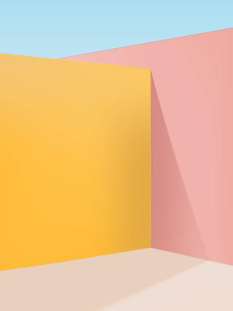 bildbanksillustrationer, clip art samt tecknat material och ikoner med vektor livfull pastellgeometrisk studio shot hörnbakgrund, rosa, gul & beige - studiofotografi