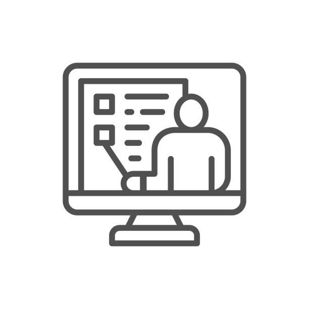 ilustraciones, imágenes clip art, dibujos animados e iconos de stock de formación de video vectorial, webinar, conferencia web, icono de línea de soporte en línea. - training